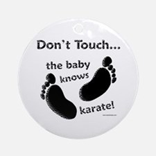 Karate Baby Black Ornament (Round)