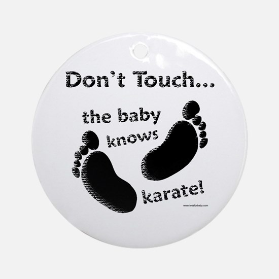 Karate Baby Black Ornament (Round)