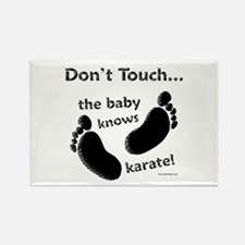 Karate Baby Black Rectangle Magnet