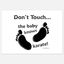 Karate Baby Black Invitations