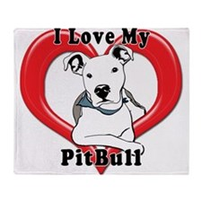 I love my Pitbull logo copy Throw Blanket
