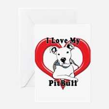 I love my Pitbull logo copy Greeting Cards