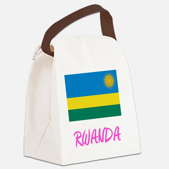 Rwanda Flag Artistic Pink Design Canvas Lunch Bag