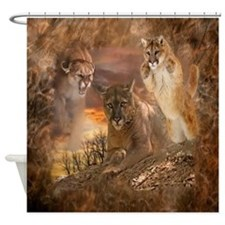Mountain Lion Collage Shower Curtain