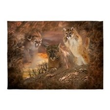 Mountain Lion Collage 5'x7'Area Rug