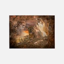Mountain Lion Collage 5'x7'Area Rug