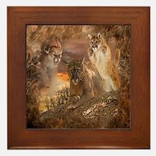 Mountain Lion Collage Framed Tile