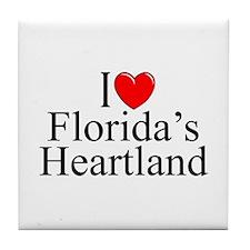 """I Love Florida's Heartland"" Tile Coaster"