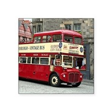 "Vintage tour bus, Edinburgh Square Sticker 3"" x 3"""