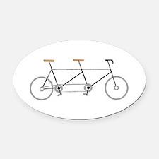 Tandem Bike Oval Car Magnet