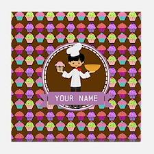Modern Cupcakes Monogrammed Personali Tile Coaster