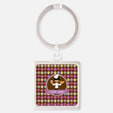 Modern Cupcakes Monogrammed Person Square Keychain