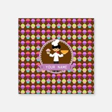 "Modern Cupcakes Monogrammed Square Sticker 3"" x 3"""
