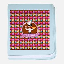 Modern Cupcakes Monogrammed Personali baby blanket