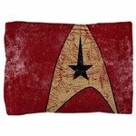 Retro Star Trek Insignia Red Pillow Sham - These graphic tees are printed with a large, stylized Star Trek emblem on a red color. Image has a worn, distressed texture for a vintage look. - Availble Colors: White