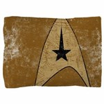 Retro Star Trek Insignia Gold Pillow Sham - These graphic tees are printed with a large, stylized Star Trek emblem on a yellow command color. Image has a worn, distressed texture for a vintage look. - Availble Colors: White