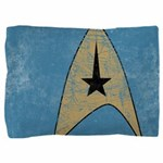 Retro Star Trek Emblem Blue Pillow Sham - These graphic tees are printed with a large, stylized Star Trek emblem on a blue color for science and medical. Image has a worn, distressed texture for a vintage look. - Availble Colors: White