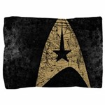 Retro Star Trek Symbol Pillow Sham - These graphic tees are printed with a large, stylized Star Trek emblem. Image has a worn, distressed texture for a vintage look. - Availble Colors: White