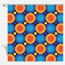 Orange Blue Circles Shower Curtains | Orange Blue Circles Fabric ...