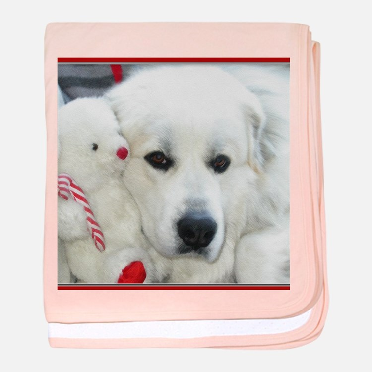 great pyrenees with teddy bear baby blanket