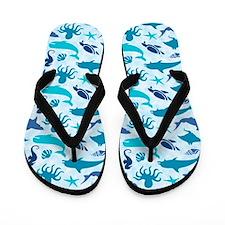 Sea Life Pattern Flip Flops