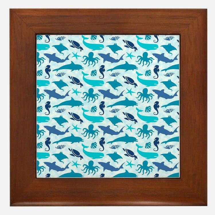 Sea Life Pattern Framed Tile