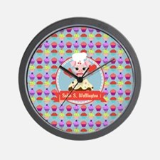 Custom Cupcake Piggy Chef Personalized Wall Clock