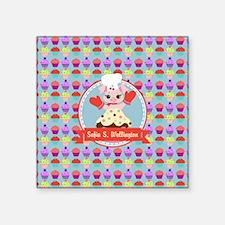 """Custom Cupcake Piggy Chef P Square Sticker 3"""" x 3"""""""