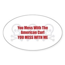 Mess With Curl Oval Decal