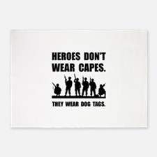 Heroes Wear Dog Tags 5'x7'Area Rug