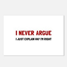 I Never Argue Postcards (Package of 8)