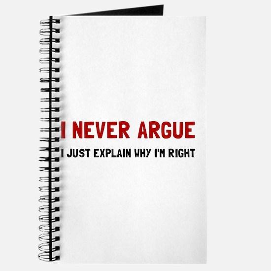 I Never Argue Journal