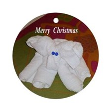Elephant Towel Ornament (Round)