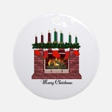 Merry Christmas Fireplace Ornament (Round)
