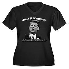 White JFK We Women's Plus Size V-Neck Dark T-Shirt