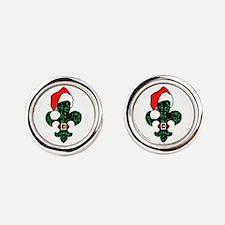 Santa Fleur De Lis (green) Round Cufflinks