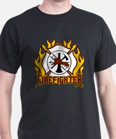 Firefighter Fire and Badge T-Shirt
