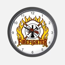 Firefighter Fire and Badge Wall Clock
