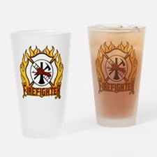 Firefighter Fire and Badge Drinking Glass
