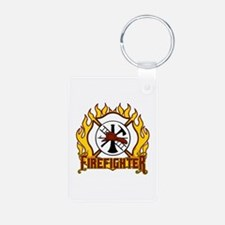 Firefighter Fire and Badge Keychains