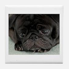 Black Pug Tile Coaster