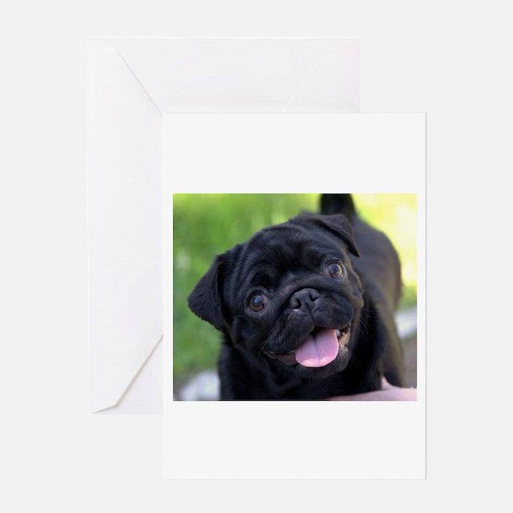 Black Pug Greeting Cards