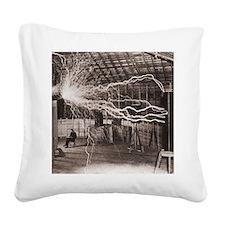 Nikola Tesla at Colorado Spri Square Canvas Pillow