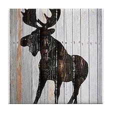 Moose Stance on Wood by Leslie Harlow Tile Coaster