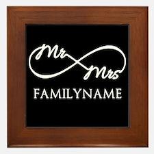 Black White Mr. and Mrs. Wedding Framed Tile