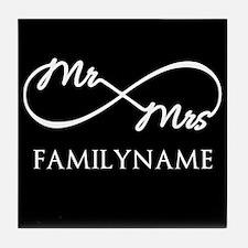 Black White Mr. and Mrs. Wedding Tile Coaster