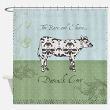 Damask Cow Shower Curtain
