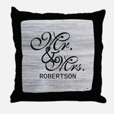 Gray and White Distressed Mr. and Mrs Throw Pillow