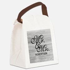 Gray White Distressed Mr. and Mrs. Canvas Lunch Ba