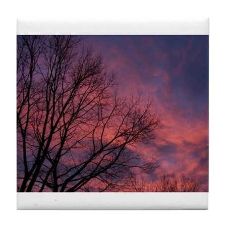 Skies on Fire Tile Coaster